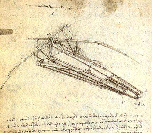 鳥の翼を研究して考案されたオーニソプター(人力飛行機)