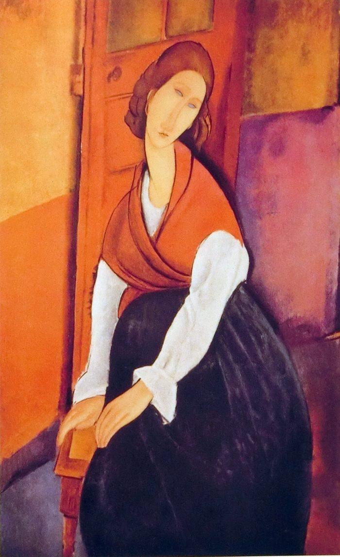 赤い肩掛けを着たジャンヌ・エピュテルヌ