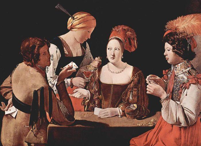 1635年ごろ 106×146㎝ ルーブル美術館蔵 別名:ダイヤのエースをもったいかさま師、ランドリーのいかさま師