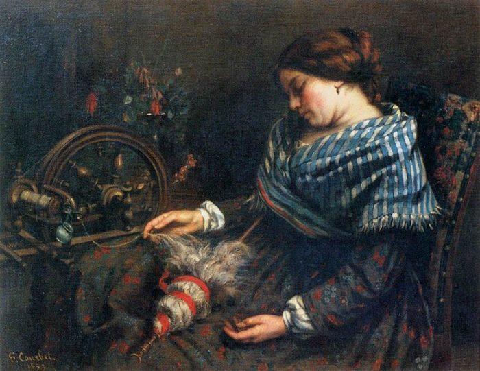 眠り込んだ糸紡ぎをする女