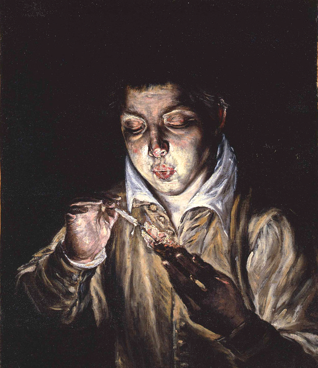 蝋燭に火を灯す少年 1570~75年頃 51×59㎝ カーポディモンテ国立美術館蔵
