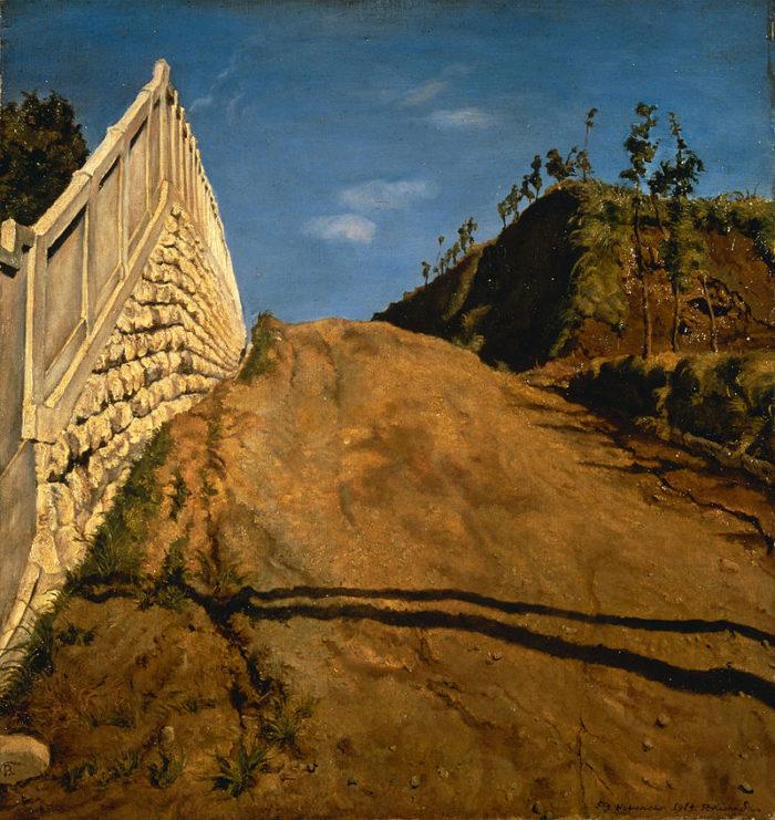 道路と土手と塀(切り通しの写生)