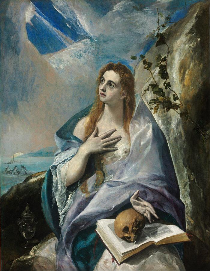 エル・グレコの代表作「改悛するマグダラのマリア」 1576-77年 156.5×121 cm ブタペスト国立西洋美術館蔵