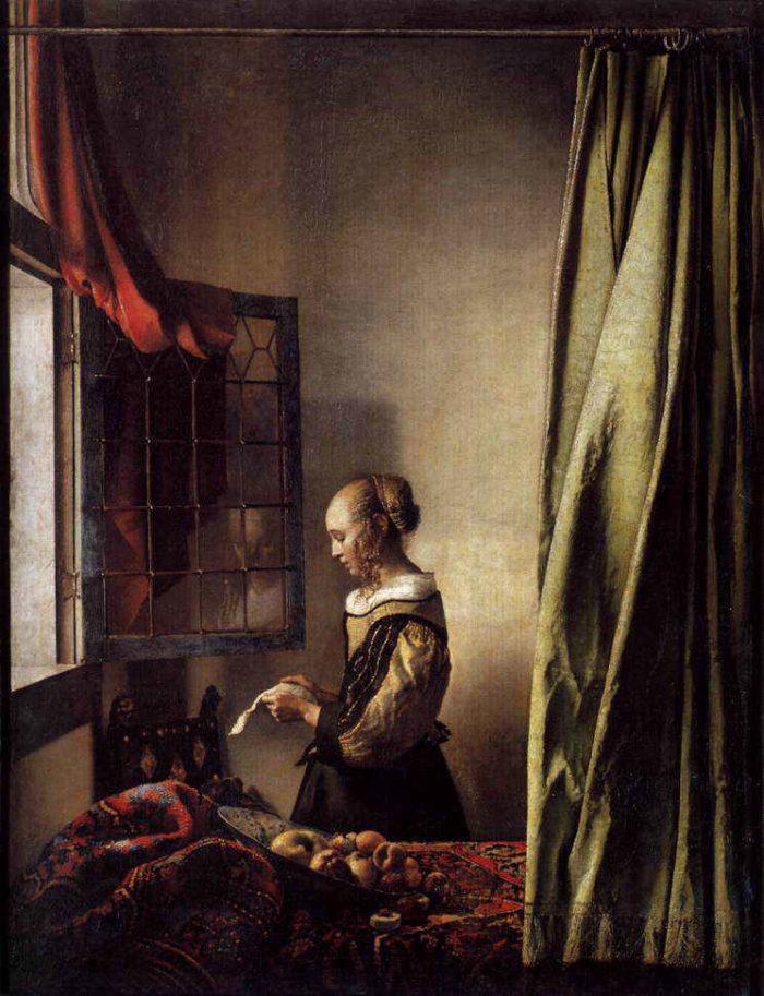 『窓辺で手紙を読む若い女』
