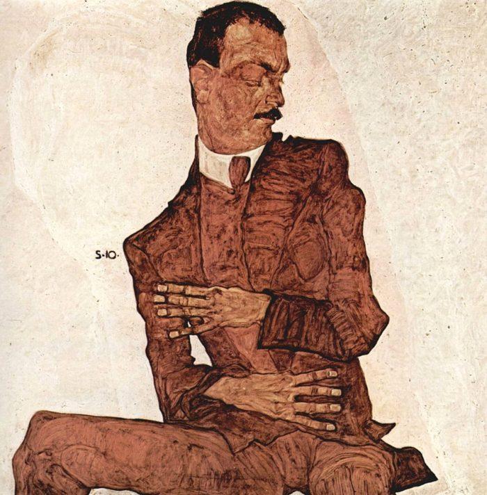《美術批評家アルトュール・レスラーの肖像》 エゴン・シーレ 1910