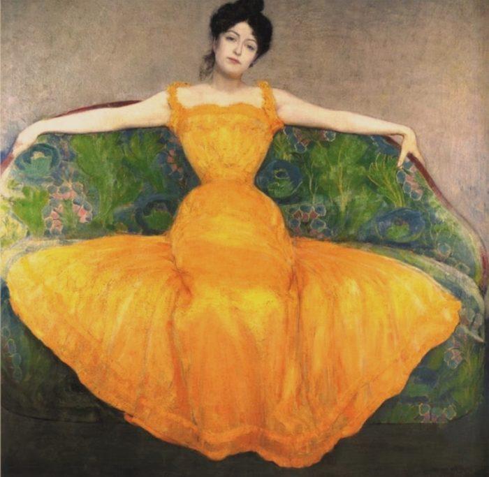 《黄色いドレスの女性》 マクシミリアン・クルツヴァイル 1899